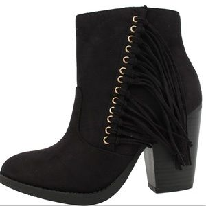 Shoes - Black fringe faux suede stacked block heel boot